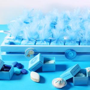 N1_plateau en bois bleu_boite de dragée personnalisée